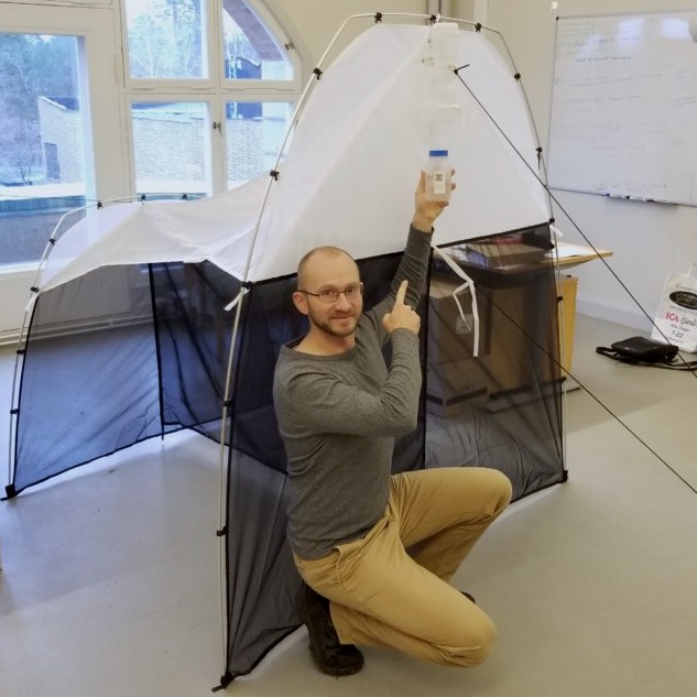 Piotr with a Malaise trap at the Swedish Museum of Natural History, 2019